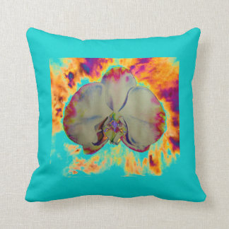 Orchidée du feu - turquoise coussin