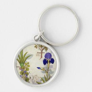 Orchidée et Fumitory ou Hedera et iris de Porte-clé Rond Argenté
