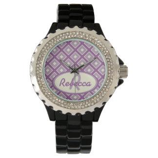 Orchidée et motif chic mauve de diamant montres bracelet