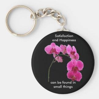 Orchidée inspirée porte-clé rond