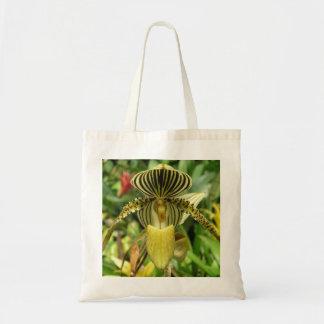 Orchidée jaune avec les rayures jaunes et noires F Sac De Toile