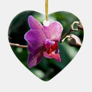 Orchidée magique ornement cœur en céramique