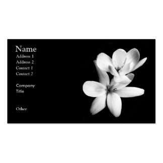 Orchidée noire et blanche florale carte de visite standard