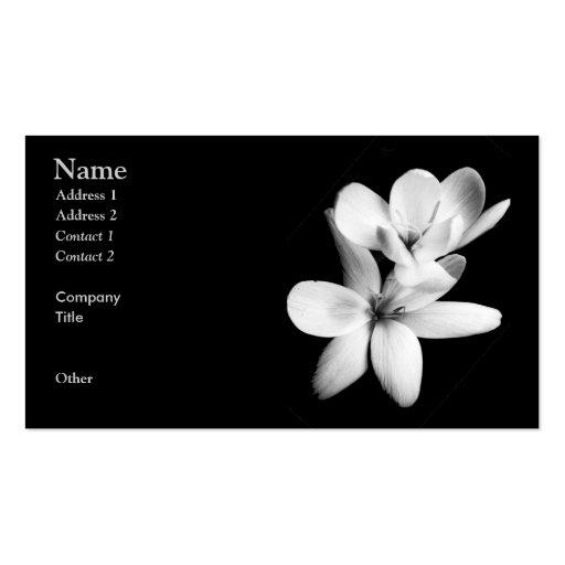 Orchidée noire et blanche florale cartes de visite professionnelles