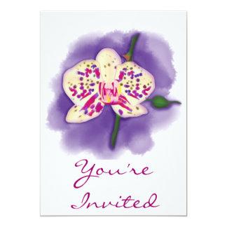 Orchidée pourpre et crème repérée par aquarelle carton d'invitation  12,7 cm x 17,78 cm