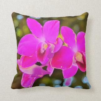 Orchidée rose coussin