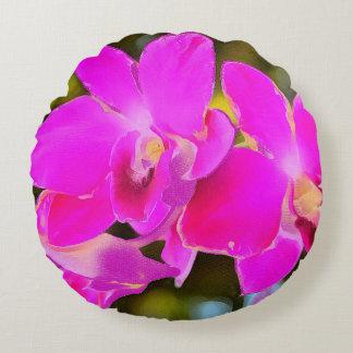 Orchidée rose coussins ronds