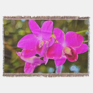 Orchidée rose couvre pied de lit