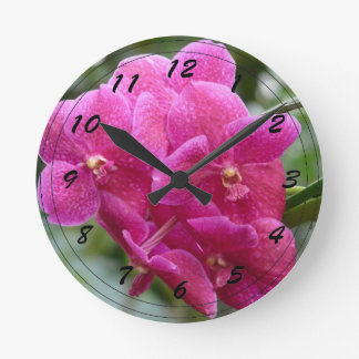 Orchidée rose-foncé de Vanda Horloge Ronde