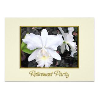 Orchidées blanches croquantes dans une retraite carton d'invitation  12,7 cm x 17,78 cm