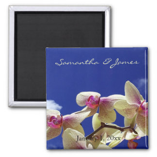 Orchidées blanches et mariage personnel de ciel aimant