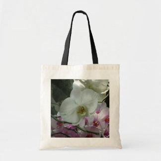 Orchidées blanches et pourpres sacs