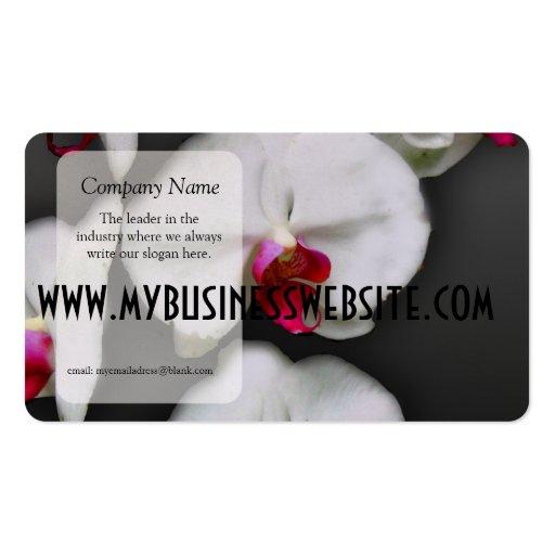 Orchidées blanches sur le gris modèles de cartes de visite