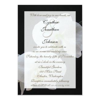 Orchidées de blanc de renouvellement de voeu de carton d'invitation  12,7 cm x 17,78 cm