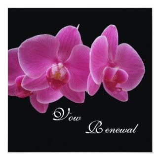 Orchidées de pourpre de renouvellement de voeu carton d'invitation  13,33 cm