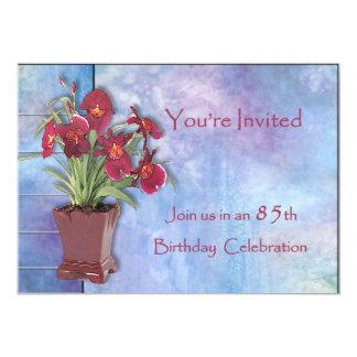Orchidées et anniversaire d'aquarelle 85th invitations personnalisées