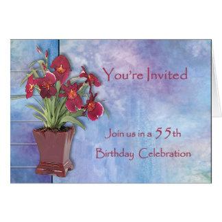 Orchidées et anniversaire d'aquarelle carte de vœux
