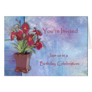 Orchidées et fête d'anniversaire d'aquarelle carte de vœux