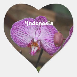 Orchidées indonésiennes sticker cœur
