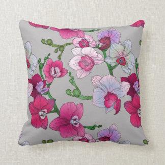 Orchidées roses en fleur coussins carrés