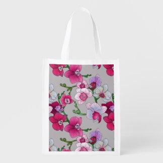 Orchidées roses en fleur sac réutilisable