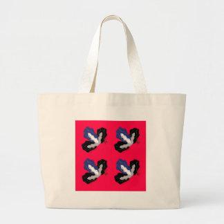 Orchidées rouge-rose sauvages avec le noir grand tote bag