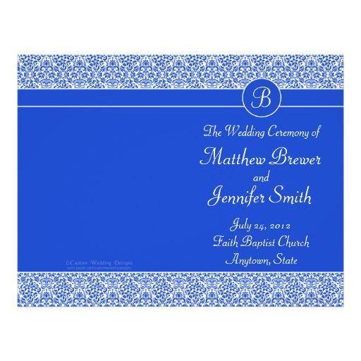 Ordre bleu de mariage de programme de service et d prospectus avec motif