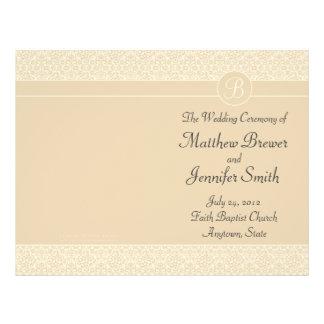 Ordre de mariage d'Ecru de programme de service et Prospectus 21,6 Cm X 24,94 Cm