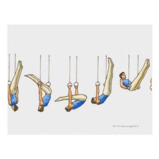 Ordre des illustrations montrant le gymnaste carte postale