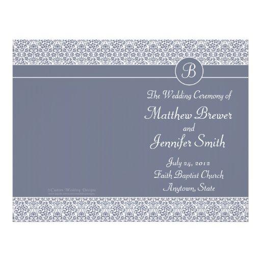 Ordre gris de mariage de programme de service et d prospectus avec motif