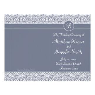 Ordre gris de mariage de programme de service et d prospectus 21,6 cm x 24,94 cm