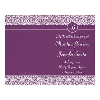 Ordre pourpre de mariage de programme de service e prospectus 21,6 cm x 24,94 cm
