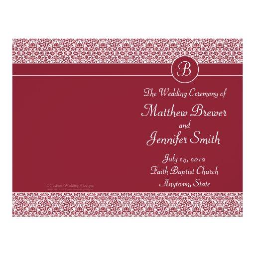 Ordre rouge de mariage de programme de service et  prospectus personnalisés