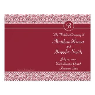 Ordre rouge de mariage de programme de service et  prospectus 21,6 cm x 24,94 cm