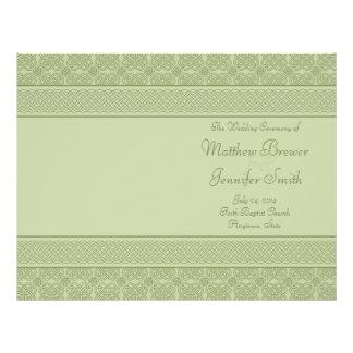 Ordre vert de mariage de programme de service et d prospectus 21,6 cm x 24,94 cm