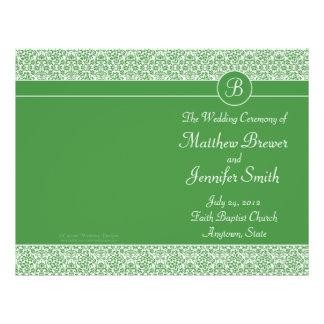 Ordre vert de mariage de programme de service et d prospectus personnalisés