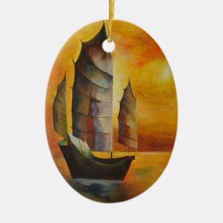 Ordure chinoise ornement ovale en céramique