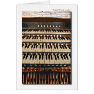 Organe de tuyau à l'église de temple, carte de