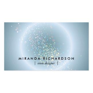 Organisateur céleste bleu de cercle de confettis carte de visite standard