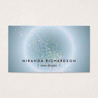 Organisateur céleste bleu de cercle de confettis cartes de visite