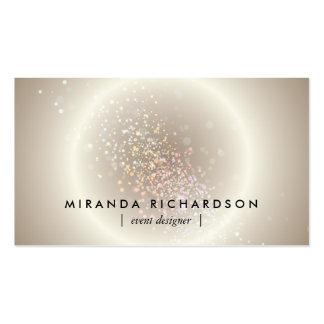 Organisateur céleste de cercle de confettis d'or carte de visite standard