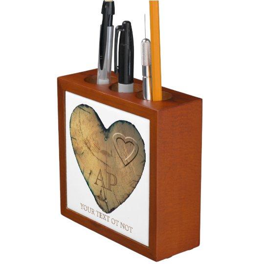 Organiseur De Bureau Desk Organizer Valentin - Heart in natural wood