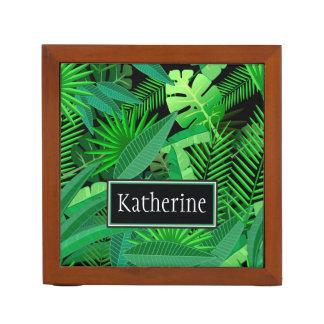 Organiseur De Bureau Le feuille de palmiers tropicaux   ajoute votre