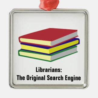 Original de bibliothécaire ornement carré argenté