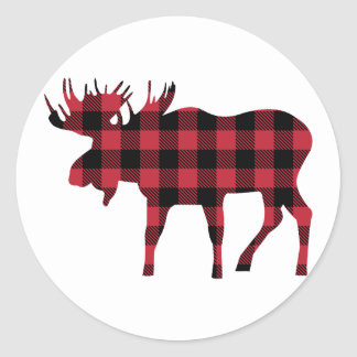 Orignaux de plaid de Buffalo, style de bûcheron, Sticker Rond