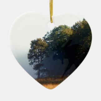 Orignaux d'ombre ornement cœur en céramique