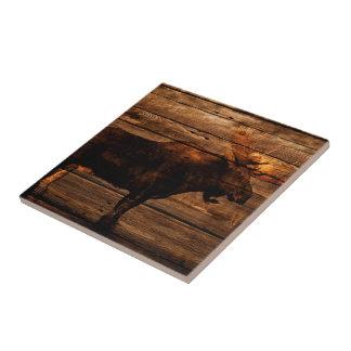 orignaux en bois de taureau de faune affligés par petit carreau carré