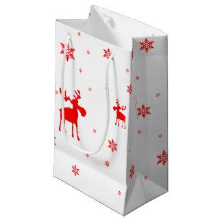 Orignaux rouges et flocons de neige rouges - petit petit sac cadeau