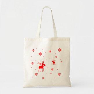 Orignaux rouges et flocons de neige rouges - sac