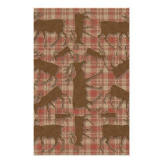 Orignaux rustiques de brun de plaid motifs pour papier à lettre
